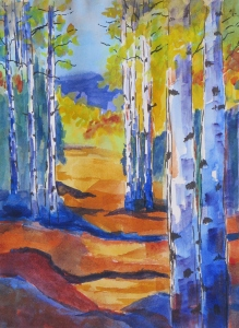 High Country Autum watercolor & ink 23x19 framed