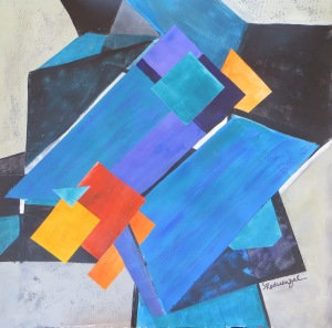 Layering Blue Acrylic Collage 22x22 framed
