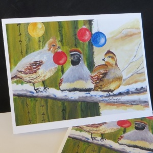 Holiday Quail, Christmas greeting card